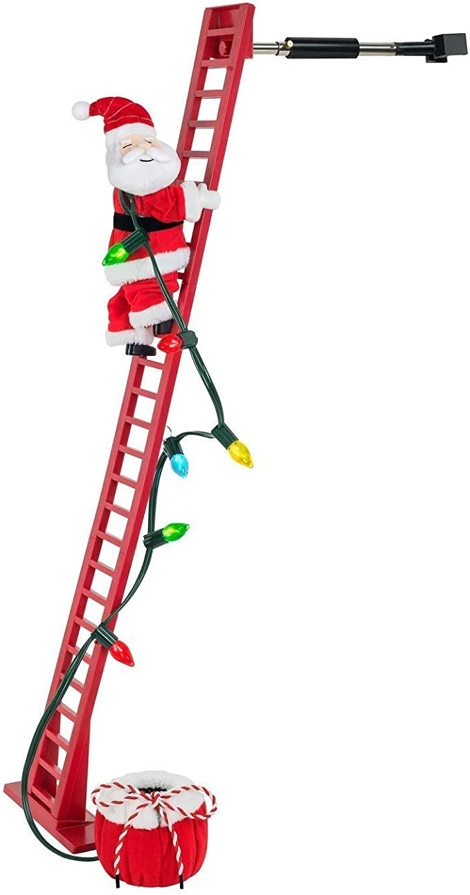 Electric Stair Climbing Santa Claus Toy Fun Christmas Elf Decoration Children Toys for Indoor Outdoor Xmas Tree Climbing Chimney Santa Claus Figurine Doll