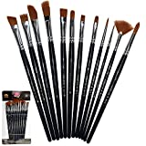 Arts & Crafts : Paint Brushes 12 Pieces Set, Professional Paint Brush Set Round Pointed Tip Nylon Hair artist acrylic brush for Acrylic Watercolor Oil Painting by Crafts 4 ALL (12)