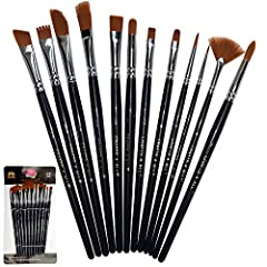 Let your creativity flow freely with CRAFTS 4 ALL 12 Pieces Variety Painting Brush Set. Package contains a large variety of shapes and sizes, allowing you to paint anything and everything of your imagination.  The painting brushes are designe...