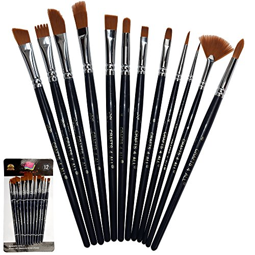 Paint Brushes 12 Pieces Set, Professional Fine Tip Paint Brush Set Round Pointed Tip Nylon Hair artist acrylic brush for Acrylic Watercolor Oil Painting by Crafts 4 ALL - Model Face Round