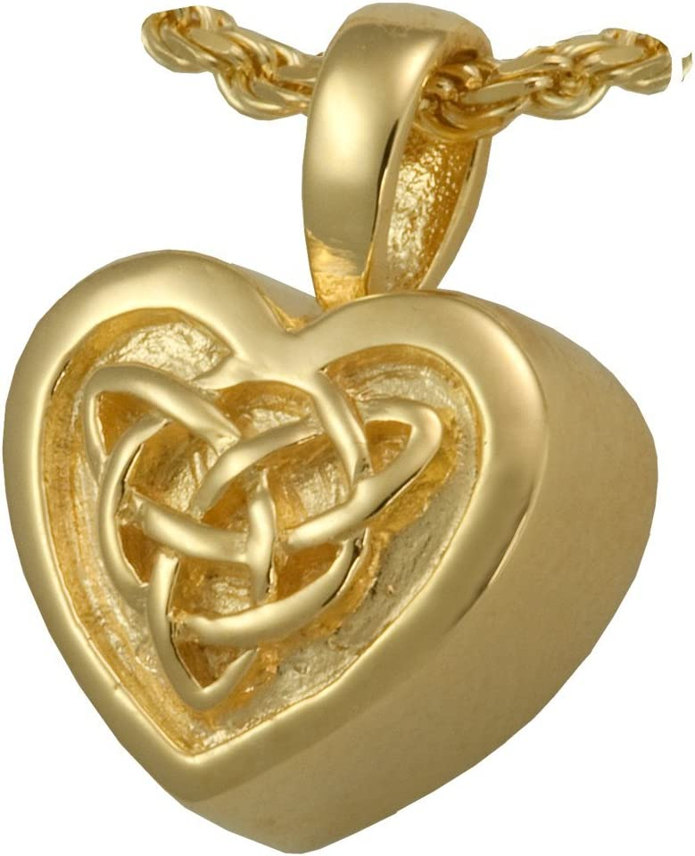 Memorial Gallery MG-3212s Antique Celtic Heart Sterling Silver Cremation Pet Jewelry