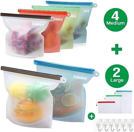 16 Pouches Resealable Reusable Self standing storage fridge food juice soup bags