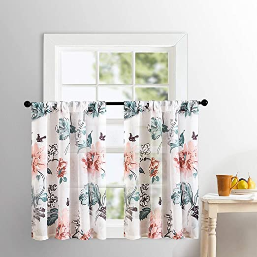 Window Treatments Home Home Mrtrees Kitchen Curtains Sheers Flower Leaf Printed Bathroom Cotton Blend Tiers 24 Inches Peach Red Floral Print Voile Cafe Curtains Rod Pocket Small Half Window Treatment Set 2