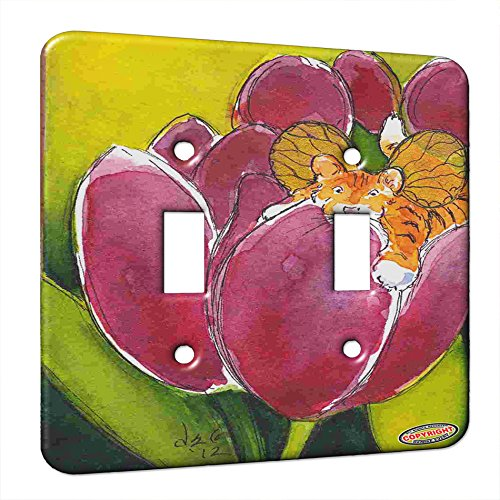 Double Gang Switch Wall Plate - Bengal Tiger Cub Kitty Fairy with Plum Tulips Fantasy Cat Art by Denise Every