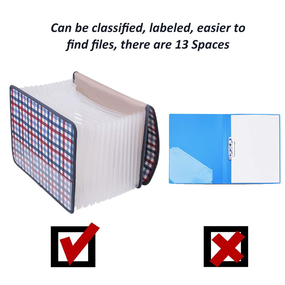 Expanding Files Folder//Desk Storage Expander Wallets//Bag,Large Space A4 Expandable Organizers Accordion,Office Business School Desktop Document with Tab Filing Folders with Cover 13 Pockets
