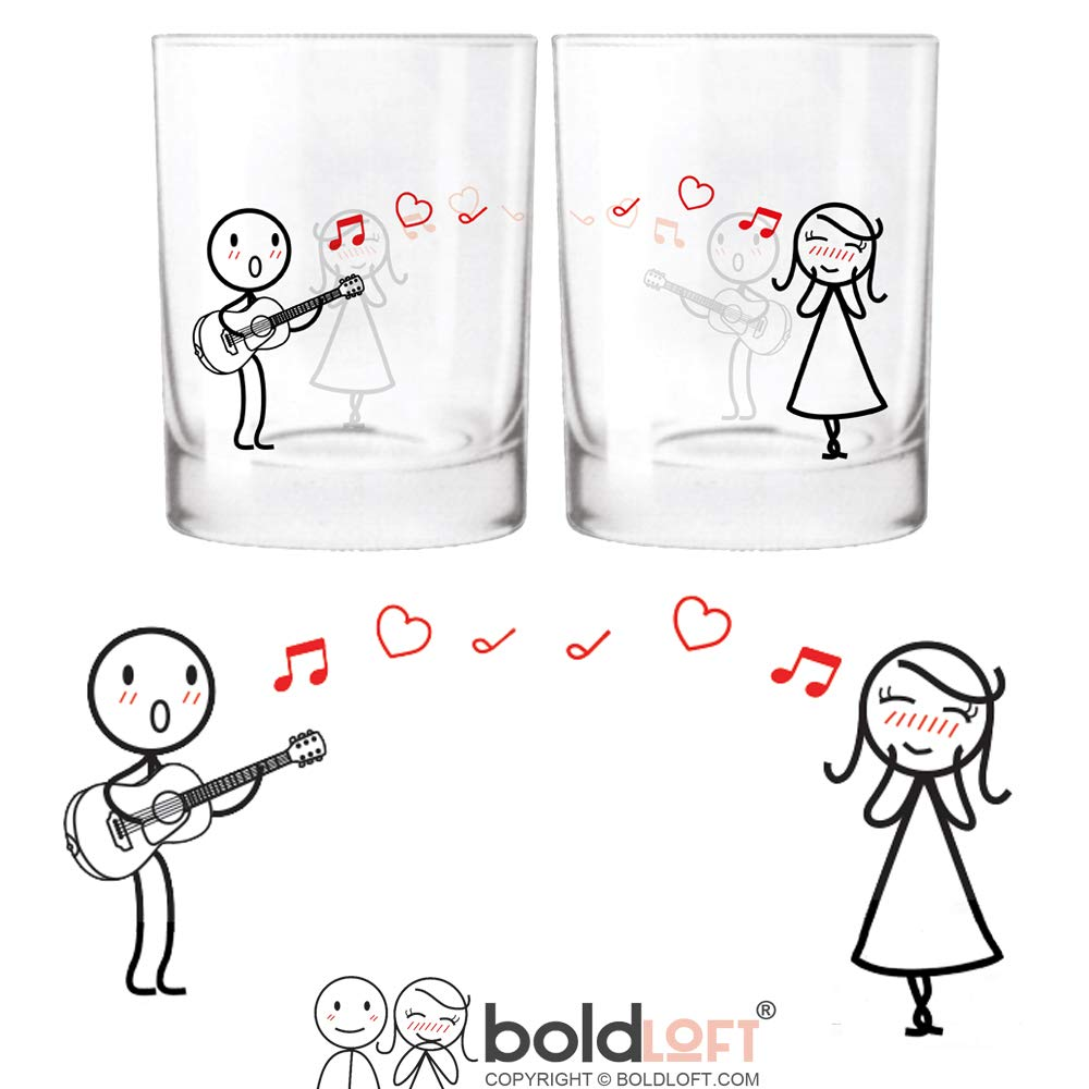 BOLDLOFT Love Me Tender Couple Drinking Glasses-Girlfriend Gifts Wife Gifts for Anniversary Valentine's Day Birthday His and Hers Couples Gifts Wedding Anniversary Gifts for Her Guitar Lover Gifts
