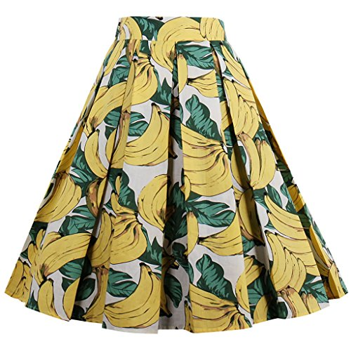 FAIRY COUPLE Printed Floral Swing Skirt Pleated Vintage Casual Skirt DRT007