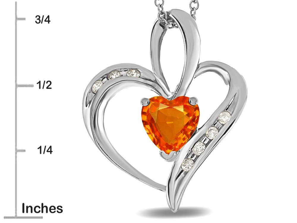 Star K Heart Shape 6mm Simulated Orange Mexican Fire Opal Pendant Necklace 10 kt Rose Gold by Star K (Image #3)