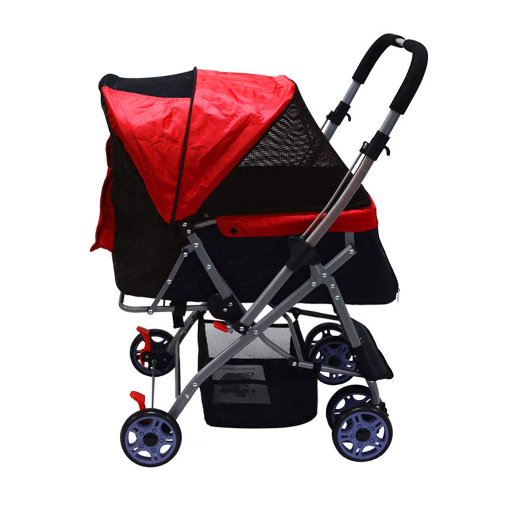 RED PLDDY Pet Bag Two-way Handle Foldable Inside And Out Removable Washable Dog Cart Pet Bicycles (color   RED)