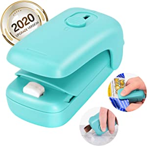 Mini Portable Sealer, Bag Heat Sealer, 2 in 1 Food Sealer and Cutter, Handheld Vacuum Sealer Machines, Quick Seal for Plastic Bags Chips Slice Snack Cookies Storage and Fresh, No need Clips (Green)