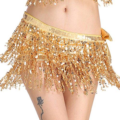 MUNAFIE Women's Belly Dance Hip Scarf Sequin Tassel Hip Skirt Colorful Waist Chain Gold