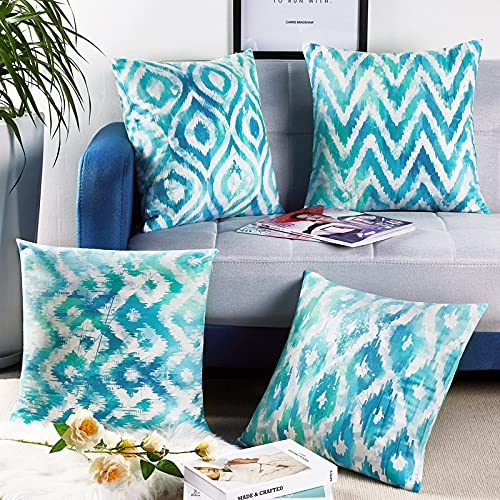 Abstract Throw Pillow Covers, Decorative Throw Pillow Cases for Couch Sofa Bed Car, Two Sides Print Geometrical Pillowcases, Modern Boho Cushion Protector, Set of 4, 18