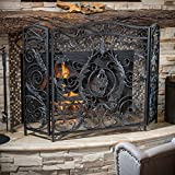 content art fireplace screen spg iron nouveau panel screens silver cast thumb