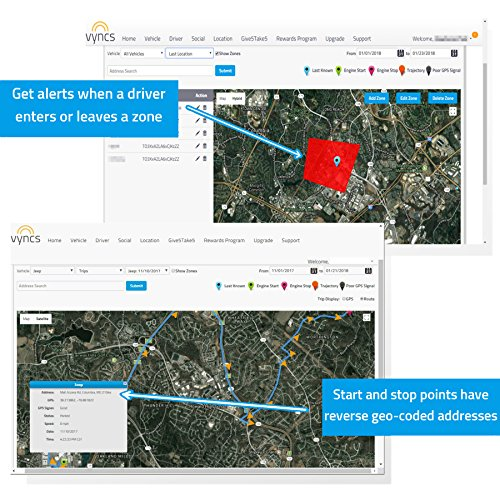 VyncsFleet: GPS Tracker No Monthly Fee, OBD, Real Time 3G Fleet Tracking, 1 Year Data Plan Included, Trips, Vehicle Diagnostics, Driver Safety Alerts, Fuel Report, Emission Report by VyncsFleet (Image #3)
