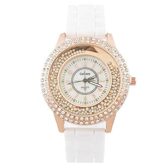 ddd8c0d34d4999 MJARTORIA Damen Mode Armbanduhr Elegant Silikonarmband mit Strass Damenuhr  Analog Quarz Uhr Weiß