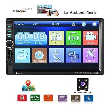 Camecho Radio para Coche Navegación GPS 7 Pulgadas Pantalla táctil Coche estéreo 2 DIN Bluetooth Android