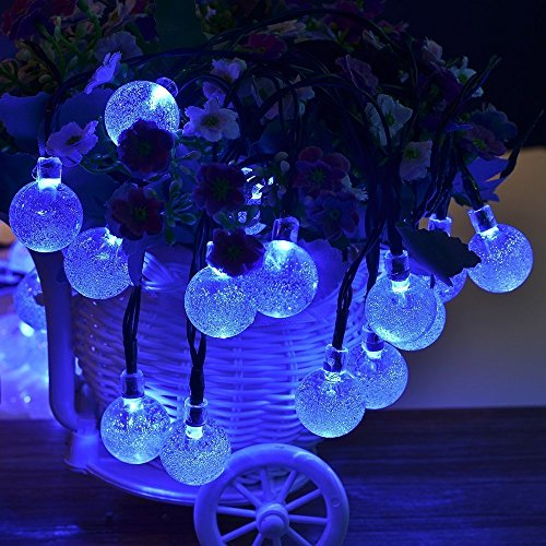 StillCool Solar String Lights, 16ft 30 LED Waterproof Outdoor Globe Bulb Fairy Lighting for ...