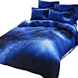 EsyDream Home Bedding Sets,Hipster Galaxy Duvet Cover Sets,Universe Outer Space Themed Galaxy Print Bedlinen Sheets,Universe Outer Space Themed Bedding Sets,100% Polyester (No Comforter),Color No.1