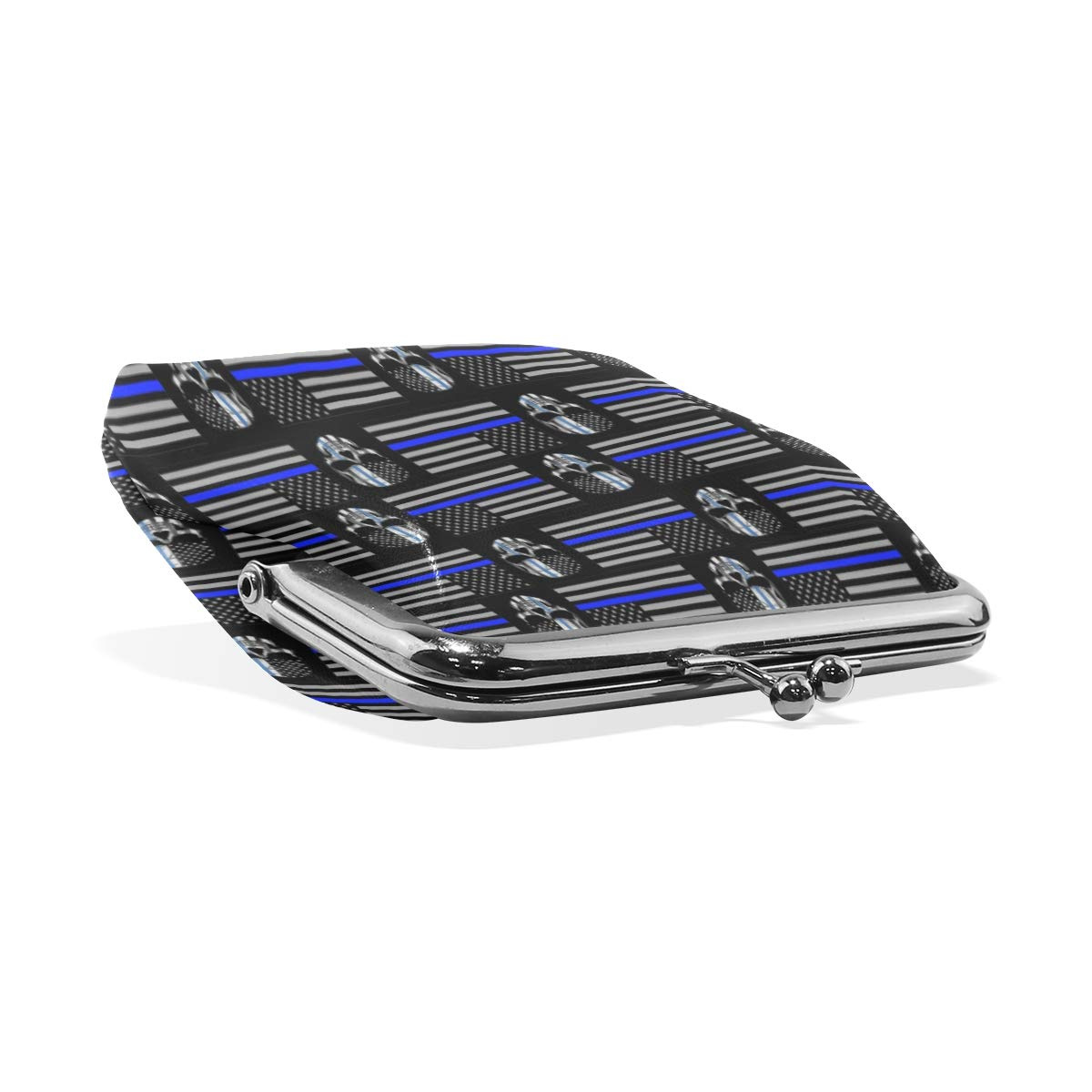 American Flag Thin Blue Line Coin Purse Buckle Vintage PU Pouch Kiss-lock Wallet for Women Girl