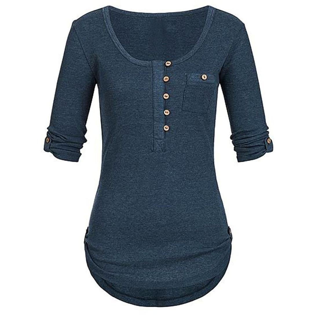 Yvelands Frauen Damen Solide Langarm Knopf Bluse Pullover Tops Shirt Mit Taschen