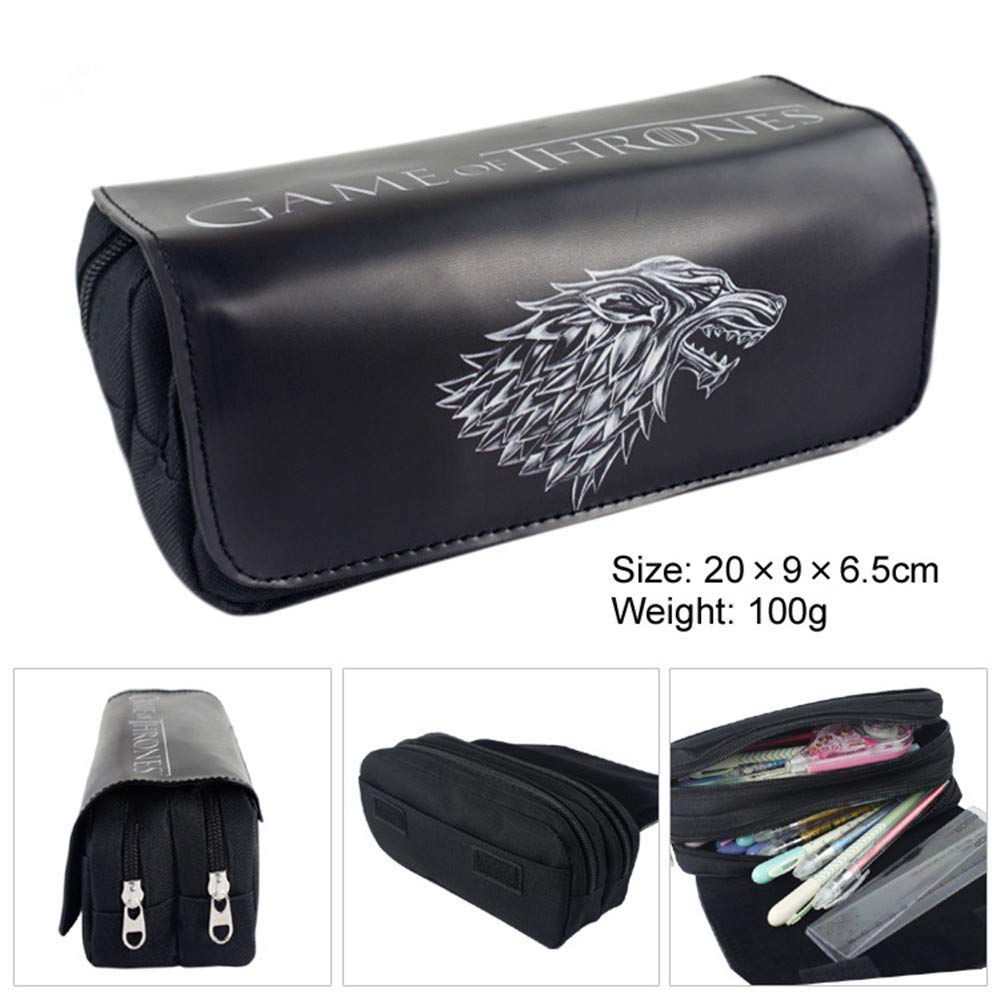 Pencil Case Large Capacity Pencil Bag with Compartments,Game of Thrones Pencil Cases for School Student Boys Girls and Office (Black-1)