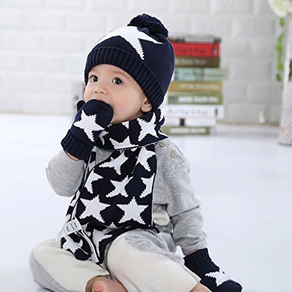 de96b7a0c5b3 Vinawo 100% Coton Enfant Chapeau Bonnet Chaud Echarpe Gants Tricot - Ensemble  Set de 3 pièces - Beanie Crochet Etoile pour Hiver Bébé Fille Garçon 1 2 3 4  ...
