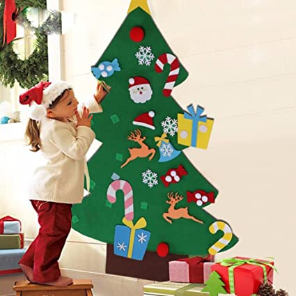 iflove diy felt christmas tree set 26pcs detachable ornaments xmas gift door wall hanging decoration