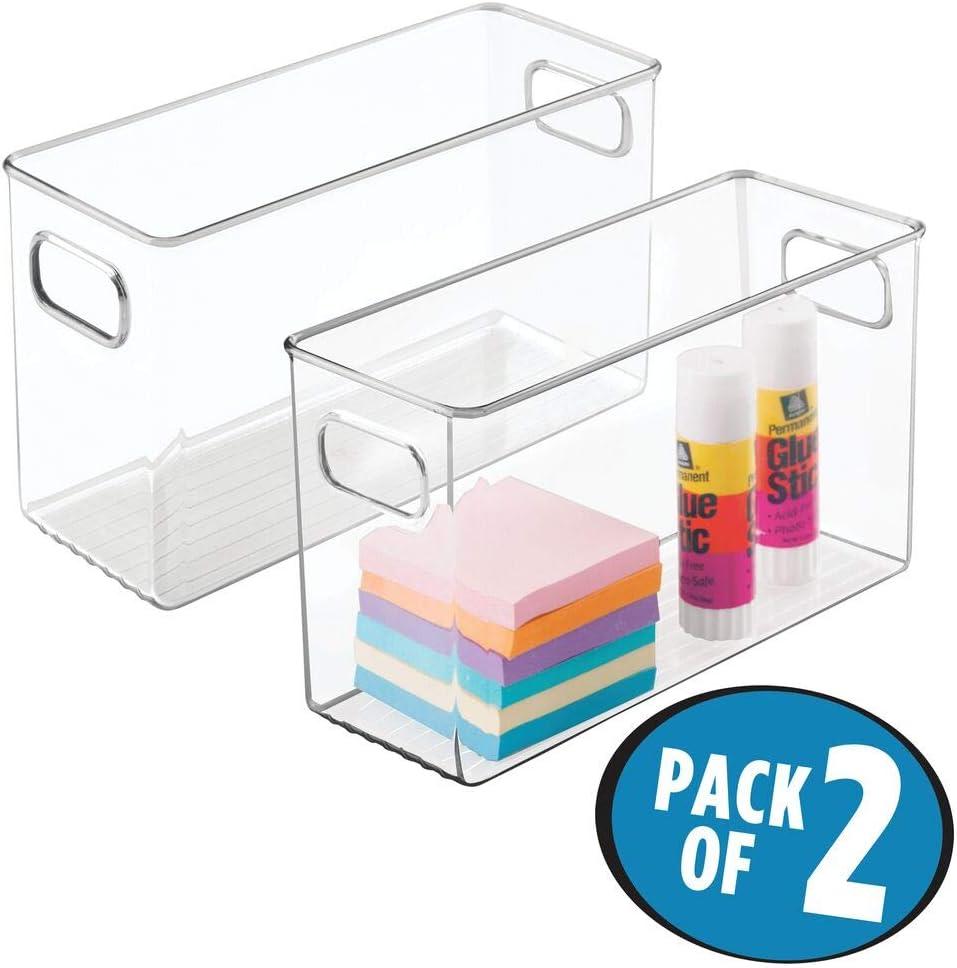 mDesign grand organiseur de bureau blanc stylos /étiquettes adh/ésives /& Cie bo/îte de rangement plastique parfaite pour ciseaux lot de 2 bac de rangement avec 11 compartiments pratiques