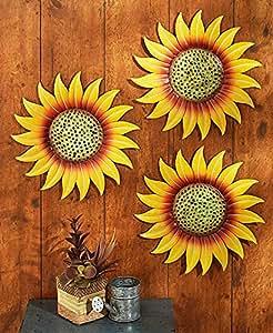 Amazon.com: Sunflower Wall Decor Metal Set of 3 Outdoor ...