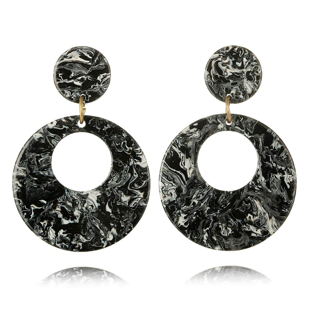 Kanggest Round Hollow Earrings Arylic Earrings Drop Dangle Stud Earrings for Women Girls Perfect Valentines Day Gifts