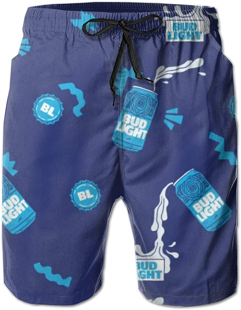 Mens Summer Swim Trunks Quick Dry Beach Board Shorts Mesh Lining,Blue Ring of Fire