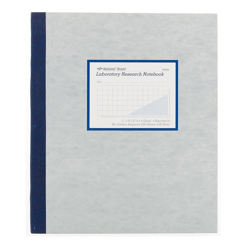 NATIONAL Brand Laboratory Notebook, 4 X 4 Quad, Gray, Carbonless, 11 x 9.25'' 100 Sets (43644)