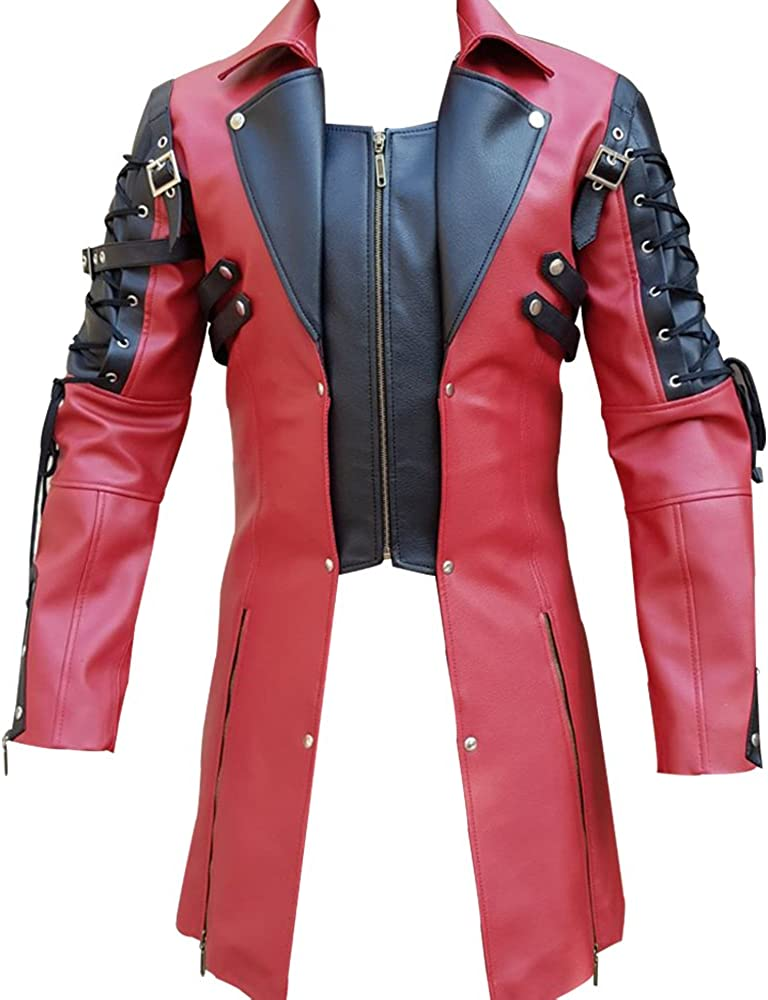 Olly And Ally Mens PU Leather Goth Matrix Trench Coat Steampunk Gothic