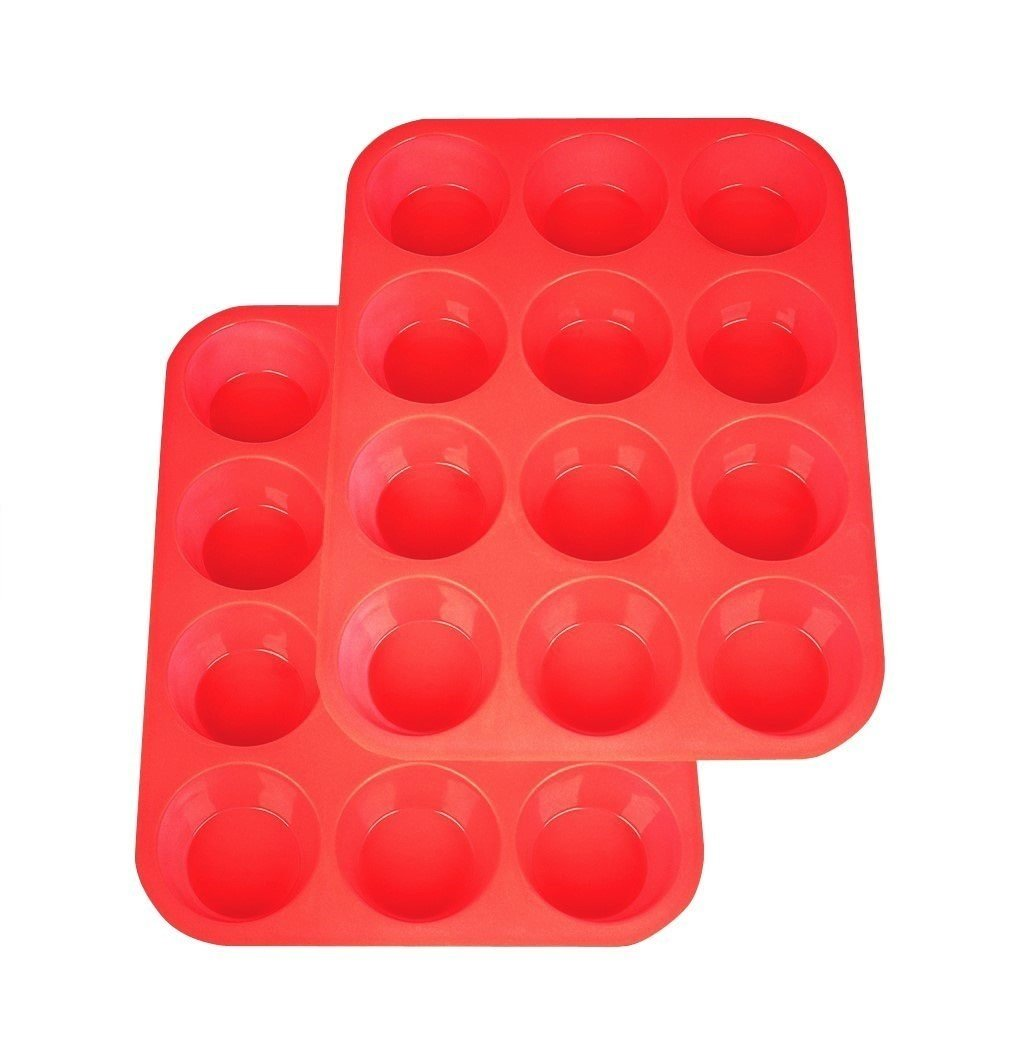 2Packs Silicone Muffin Pan, Silicone Molds Non Stick Cupcake Baking Pan (Red)