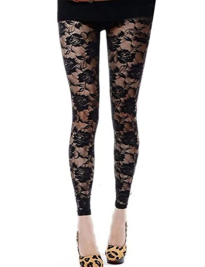 b567f4a18e7 DITTMURI Women Sexy Mesh Sheer Floral Lace Hollow Out Footless Leggings  Pants Tights Black
