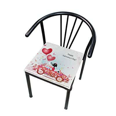 "HNTGHX Outdoor/Indoor Chair Cushion Valentine's Day Love Balloon Square Memory Foam Seat Pads Cushion for Patio Dining, 16"" x 16"": Home & Kitchen"
