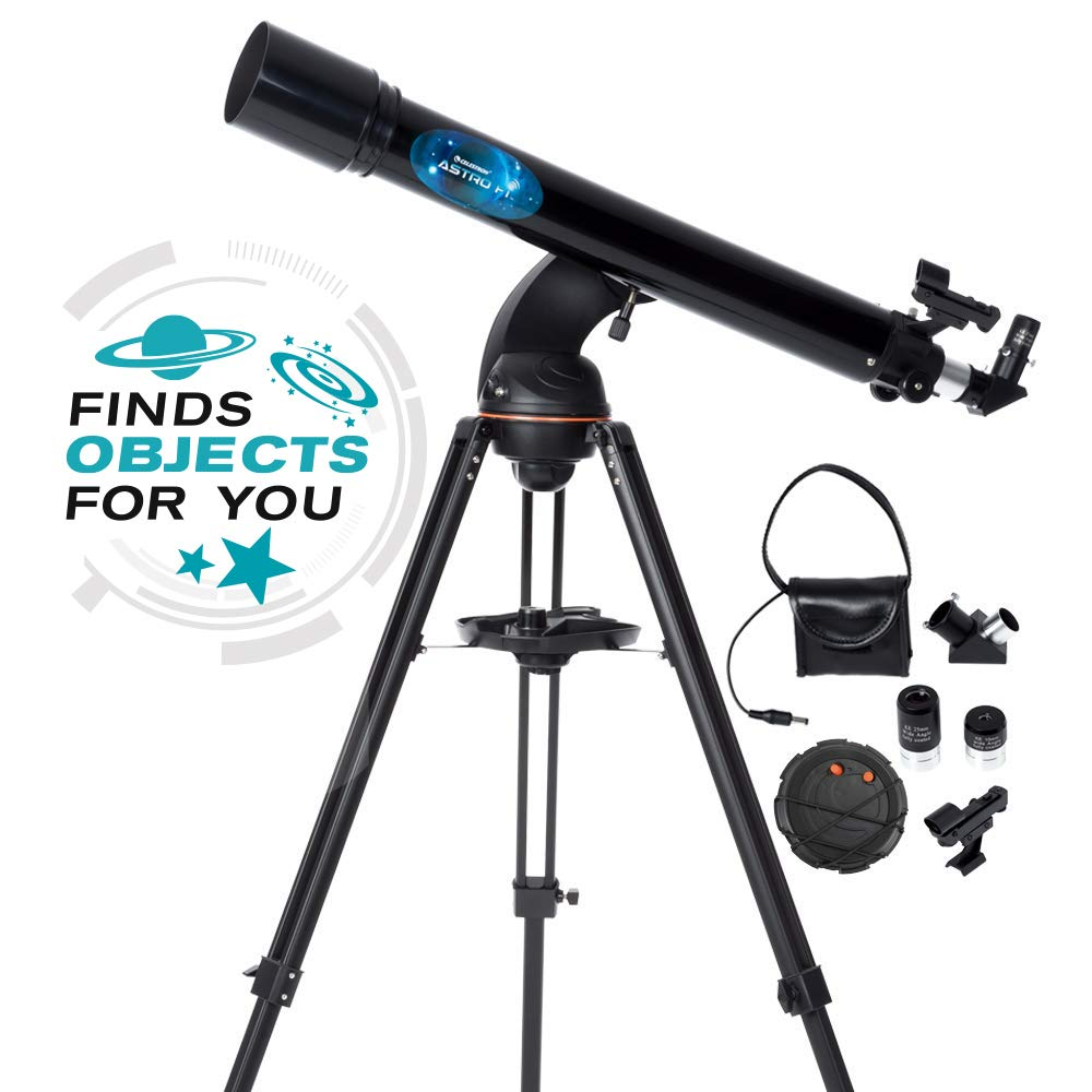 Celestron Astro Fi 90 Wi-Fi Refractor Wireless Refracting Telescope, Black (22201) by Celestron