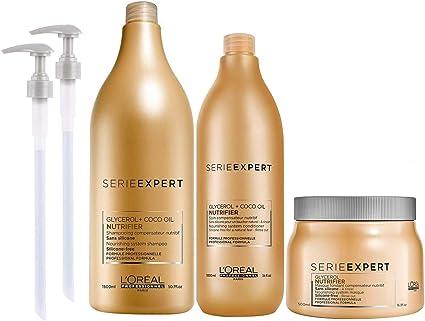 LOréal Expert Nutrifier Pack Champu 1500ml + Acondicionador 1000ml + Mascarilla 500ml Con 2 Dispensadores: Amazon.es: Belleza