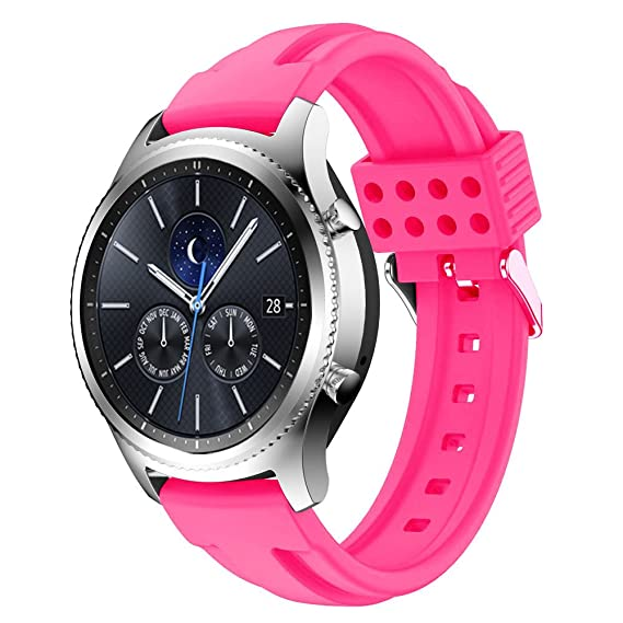new styles 45a5c e4df7 Gear S3 Bands Silicone, Maxjoy S3 Classic Frontier Watch Band Galaxy Watch  46mm Bands 22mm Soft Silicone Waterproof Rubber Replacement Strap with ...