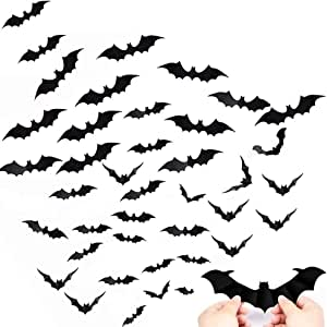 Large 3D Decorative Scary Bats Wall Decal Wall Sticker for Halloween Door Decor Halloween Party Decoration Supplies (108 PCS)