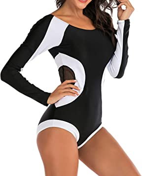 wuliLINL Womens One Piece Swimsuit Round Collar Stylish Contrast Printing Swimwear Long Sleeve Surfing Suit Wetsuit Bathing Suit