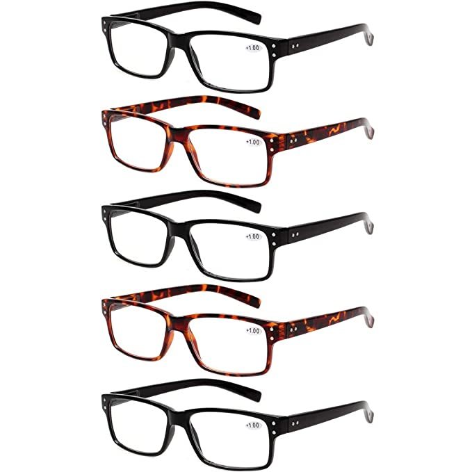 18cd266f5a2b Reading Glasses 5 Pairs Quality Readers Spring Hinge Glasses for Reading for  Men and Women (