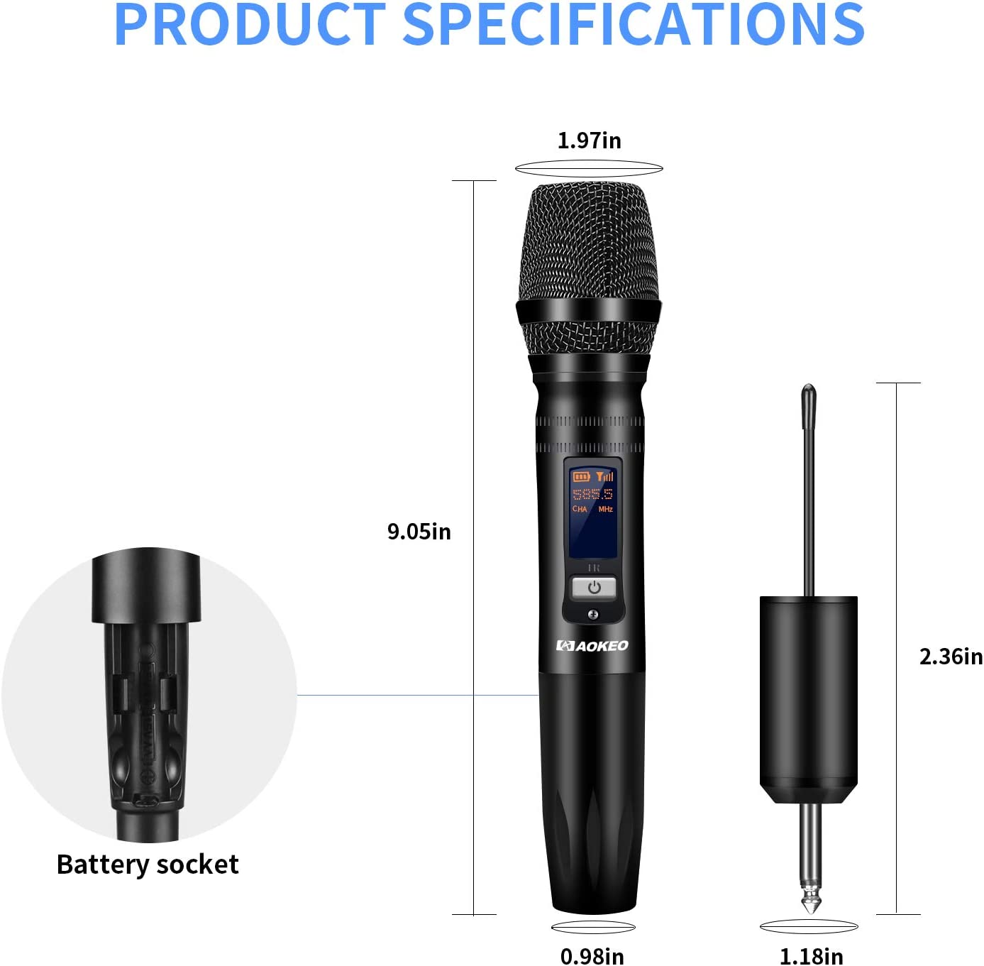 DJ On Stage Karaoke 30ft Conference 1//4 inch Plug Receiver for Computer Live Events Aokeo Wireless Handheld Microphone 18K mA Battery UHF Dynamic Mic System Wedding Church