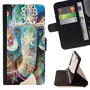 Super Marley Shop - Funda de piel cubierta de la carpeta Foilo con cierre magn¨¦tico FOR Samsung Galaxy Note 4 SM-N910 N910 IV- Elephant Cute Aztec