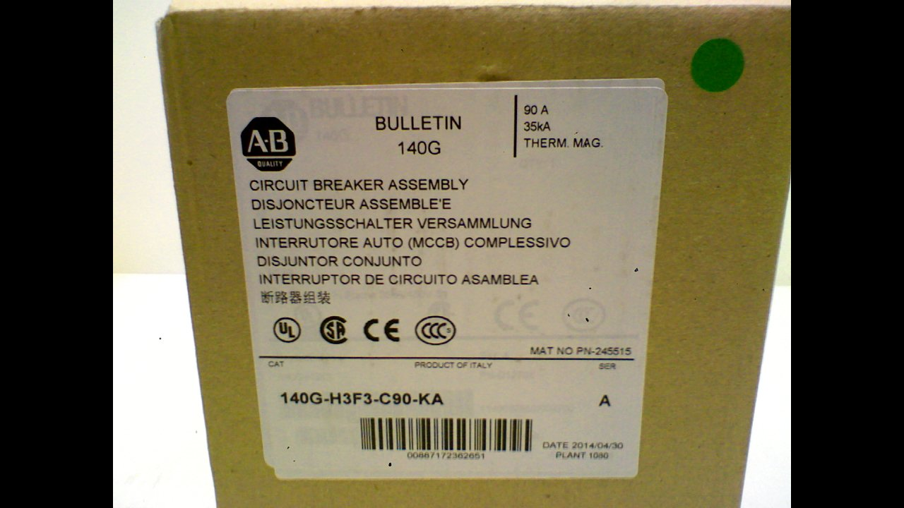 Allen Bradley 140G-H3f3-C90-Ka Series A Circuit Breaker 3 Pole 140G-H3f3-C90-Ka Series A