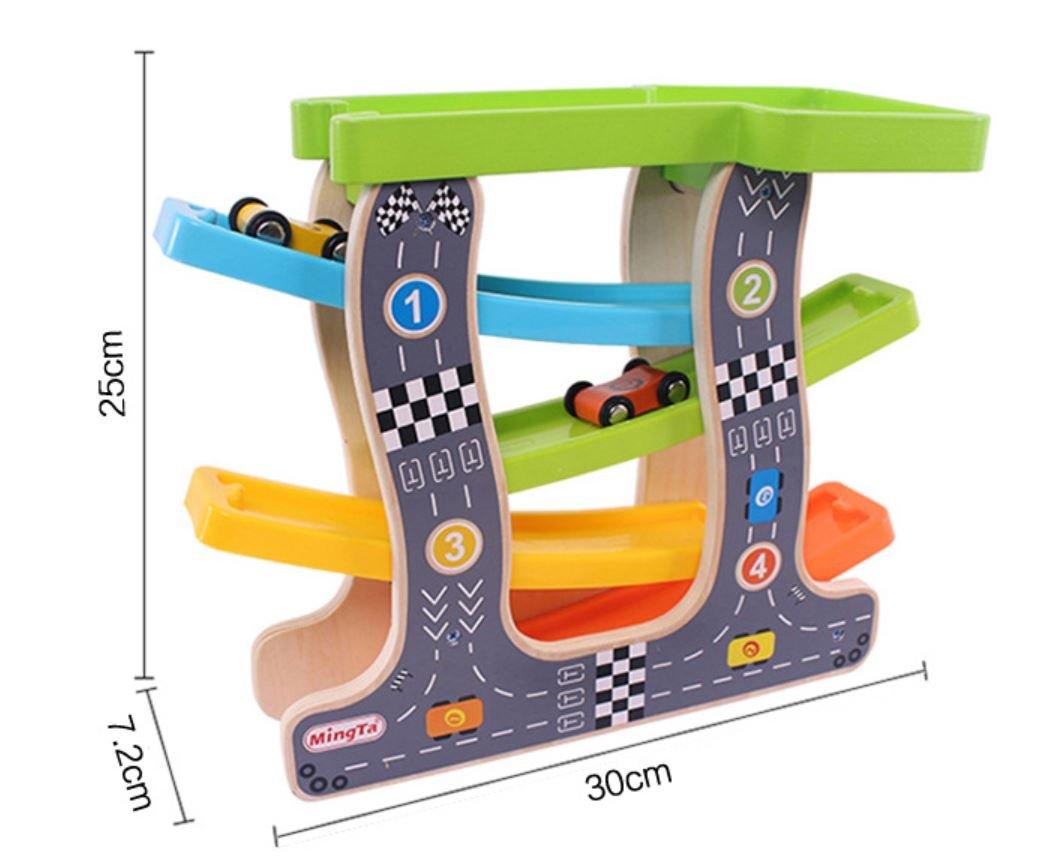 a5ab2de5fc058 Amazon | sesta7 木製スロープ ミニコースター 木のおもちゃ 知育玩具 滑り台 子ども スロープトイ 車4台付き | 積み木 | おもちゃ