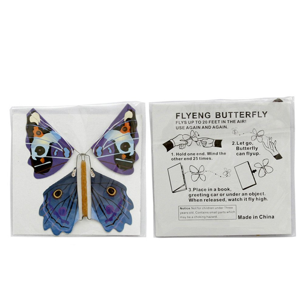 SHZONS Flying Butterfly, 100pcs Children's Magic Prop Toy Magic Fairy Flying in The Book Butterfly Rubber Band Powered Wind Up Butterfly Toy Great Surprise Gift by SHZONS (Image #6)