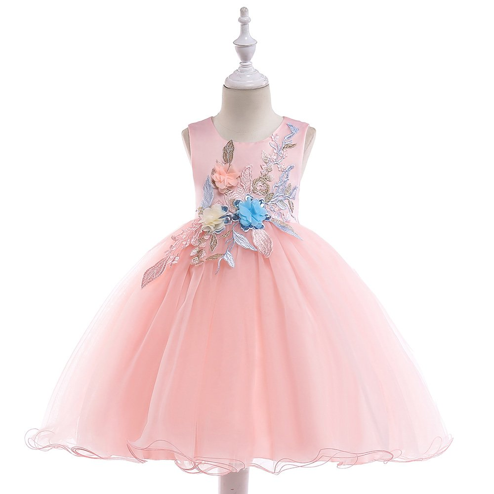 A Line Sleeveless Scoop Neck Flower Girl Dresses Summer Wedding Party Dress Pageant Gowns Christmas Easter Halloween Birthday Holiday Sundress Size 5 6 Years (Pink 130)