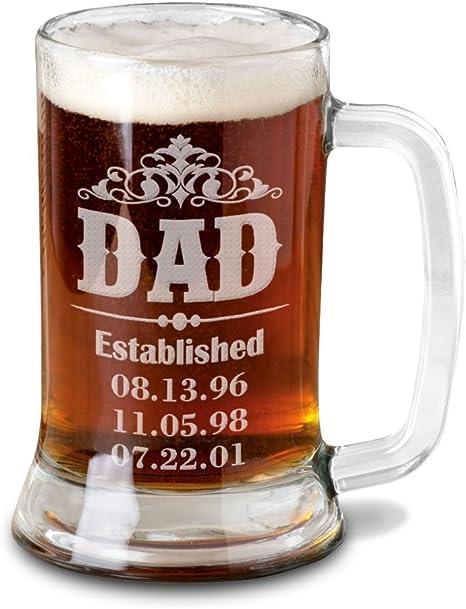 Jarra de Cerveza Personalizada D/ía del Padre BANDA CON CORONA Regalo Grabado y Personalizado para Hombre o Mujer Obsequio Celebraciones Cumplea/ños Aniversarios D/ía del Padre Detalle personalizado