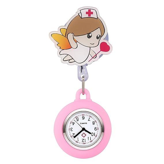 jsdde Enfermera Reloj Pulso Reloj Nurse Watch Bata Reloj Silicona Dibujos Animados Ángel Reloj de Bolsillo Enfermera con Clip # 12: Amazon.es: Relojes